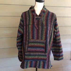 Baha Hoodie Jacket Boho Hippie Mexico Textile Hood